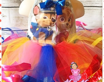 Paw patrol sky and chase ribbon trimmed custom overall tutu set