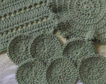 Mossy Green Spa Set! Washcloths and Face Scrubbies! 2 Bonus Scrubbies!