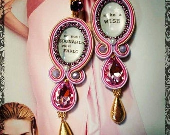 Cameo pink and crystal drop earrings. Hand-embroidered.