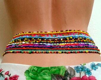 Double Strand (2 piece) Waist Beads, Body jewelry, Belly beads, Bead jewelry, Belly chains, Waist chain, African waist beads, Sexy Jewelry