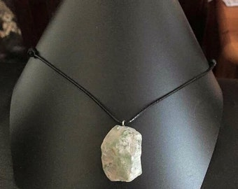Indian agate chunky rough shaped crystal pendant on a black leather cord necklace