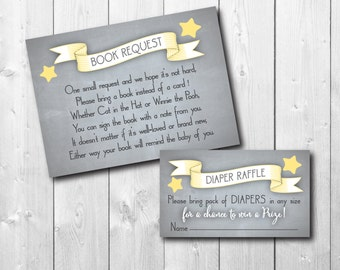 Book Request and Diaper Raffle Inserts to match ANY invitation on my shop / DIGITAL FILE / printable / wording can sizes can be changed