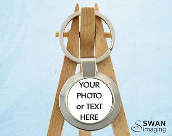 Custom Key Ring ~ Personalised Key Ring ~ Photo Key Ring ~ Round Keyring Keychain