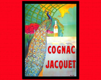 Cognac Jacquet Ad Print - Vintage Kitchen Poster Food Poster Kitchen Kitchen Decor Cognac Poster   Reproductiont