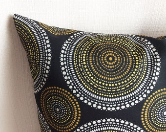Pillow cover, Outdoor Indoor pillow covers, Black Yellow White pillow, Cushions, accent pillow, All sizes