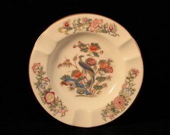 Vintage Ashtray Small, Round, Porcelain Kutani Crane Design, Wedgwood, England