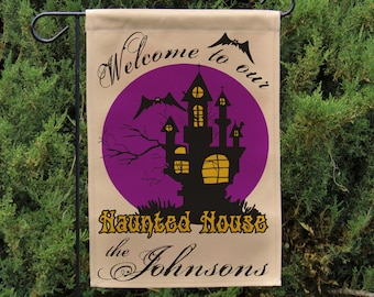 Personalized Halloween Flag or Wall Hanging, Welcome to our Haunted House, Halloween Garden Flag, Yard sign, Stand NOT Included EYF-061