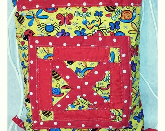 """Quilted Backpack-Style Tote Bag: """"Bugs' Life"""""""