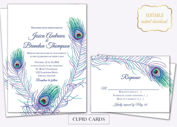 Peacock Feather Wedding Invitation: Peacock Feather Wedding Invite Templates Editable Printable