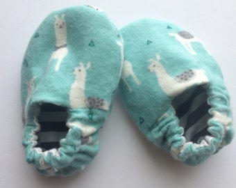 Llama and stripes -  reversible baby shoes - moccasins - booties - crib shoes