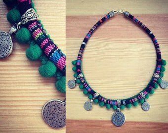 Necklace ethnic boho coins.