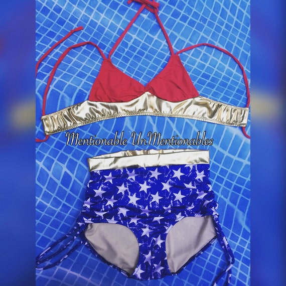 Retro Two Piece Mid Rise Ruched Bikini - Superhero Themed- Vintage Swimwear- Ruched Bathing Suit - Pin Up Swimsuit - Patriotic Swimwear