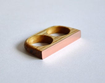Oak and Copper Double Ring
