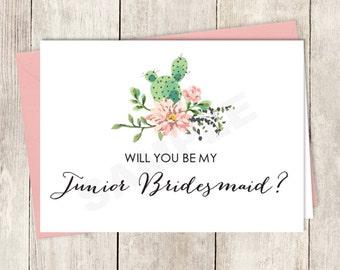 Rustic Will You Be My Junior Bridesmaid Card DIY Printable / Wedding Card / Cactus Succulent, Coral Flower Wreath Fiesta ▷ Instant Download