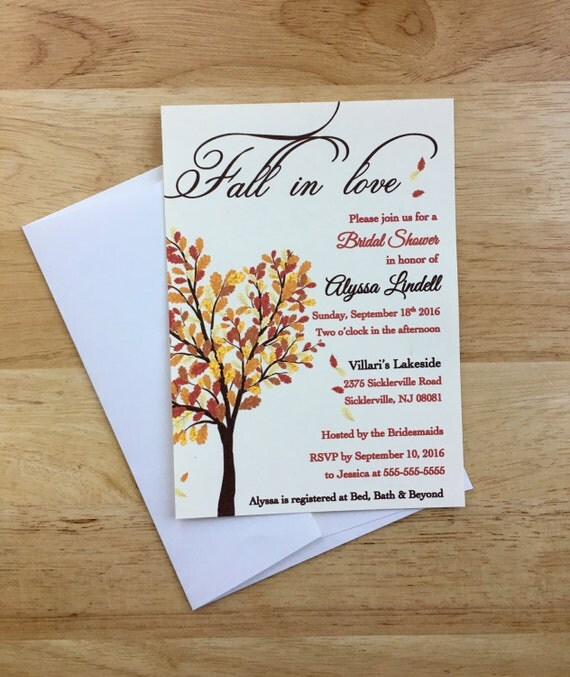 fall in love bridal shower invitations fall autum leaves theme shower