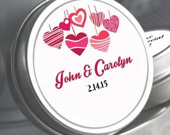 12 Personalized Mint Tins - Wedding Mint Tins - Mint Hearts - Valentines Day - Wedding Shower - Bridal Shower Decor