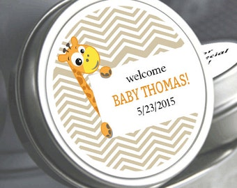 """12 Born To Be Wild Giraffe Personalized Mint Tins - Need a different quantity? Click on the """"choose total"""" tab to see all pricing"""