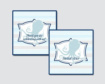 Octopus Baby Shower Printable Favor Tag - Nautical Baby Shower Favor Tags - Thank You Tag, Octopus