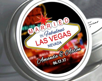 """24 Personalized Married in Las Vegas Mint Tins Unfilled   - Select the quantity you need below in the """"Pricing & Quantity"""" option tab"""