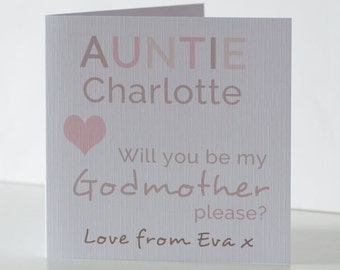 Will you be my Godmother Card. Will you be my Godfather card. Personalised Godparent cards.