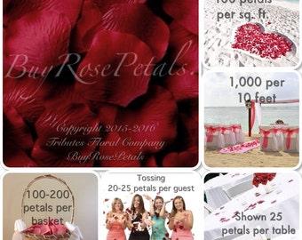 500 Burgundy Rose Petals - Artificial Rose Petals