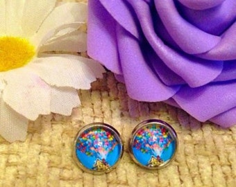 Disney Pixars Up House And Balloons Stud Earrings. 10mm.