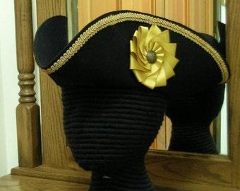 Captain's Tricorn - Cockade Hat - Colonial Tricorne - Pirate Hat