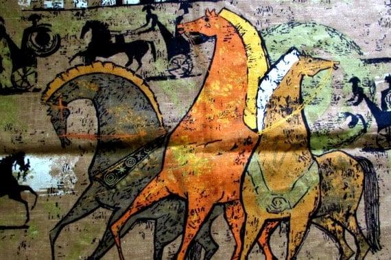 Rare 70s Brutalist Horse Vintage Linen Fabric Panel Etruscan