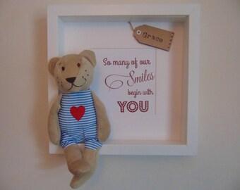 Personalised Childrens Keepsake Teddy Bear Box Frame