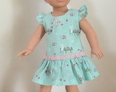 """Mint Green Pink Flutter Sleeved Green Dress for 18"""" Dolls Pink Bow and Trim"""