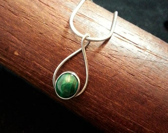Vintage Malachite and Sterling Pendant