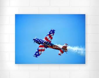 American Airplane - Patriotic Decor - American Flag Art - Patriotic Photo - Airplane Photo - Red White and Blue - Home Decor - Patriotic Art