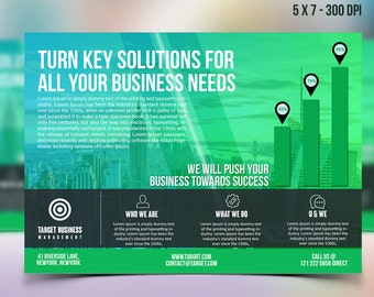 Multipurpose Corporate advertising Template - Postcard - Advertising Marketing - Photoshop template INSTANT DOWNLOAD