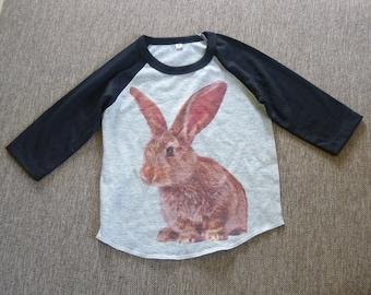 Rabbit shirt Toddler shirts /raglan shirt kids clothing for 12M/2T/ 4T/5-10 years