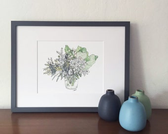 Paperwhite Bouquet // Floral Watercolor Print // Flower Art // Garden Inspired