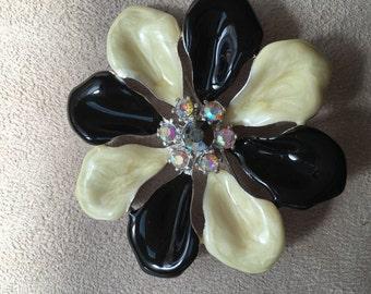 Black and white w/Rhinestone Flower Brooch
