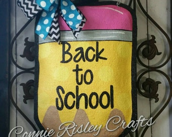 Pencil Burlap Door Hanger Decoration. Perfect for Classroom Doors and Teacher gifts. Personalized free.
