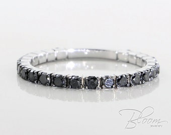 Black Diamond Eternity Ring 18K White Gold Eternity Ring Diamond Wedding Ring Black Diamond Ring White Gold Eternity Ring BloomDiamonds