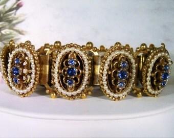 Victorian Revival Book Chain Bracelet, Blue Rhinestones and Seed Pearls Bracelet, Book Chain Bracelet, Blue Rhinestone Bracelet, Vintage