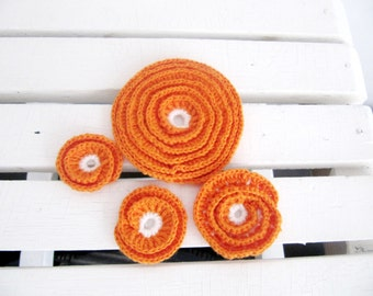 Orange  Crochet Flower Appliques Crochet Roses 4 PCS Different Sizes Crochet Motif Crochet Embelishments