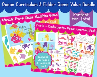 Ocean Bundle Pack PreSchool Kindergarten Learning Pack & Folder Game O is for Ocean Curriculum - Instant Download PDF