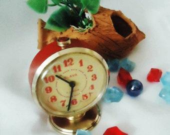 Vintage Alarm Clock ,Soviet Clock, Russian Clock , Mechanical Clock , Red Retro clock , Slava,Vintage Russian Alarm Clock Soviet SLAVA,USSR