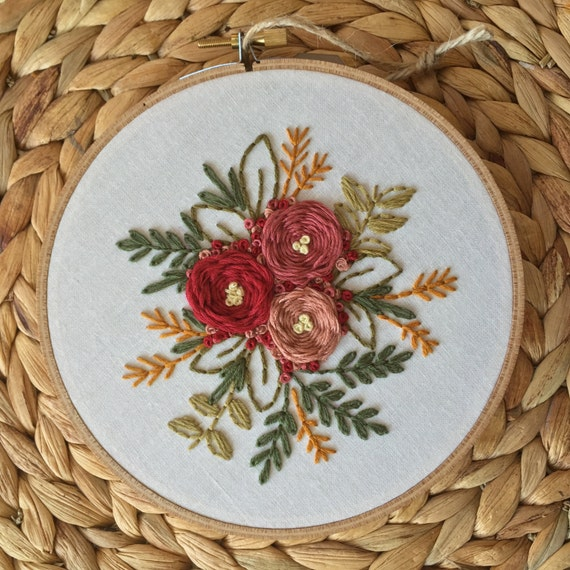 Floral bouquet embroidery hoop art hand