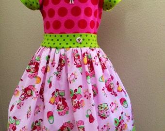 Strawberry shortcake dress, strawberry dress, strawberry birthday dress