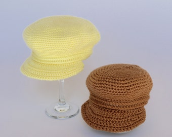Yellow Baby Hat, Warm Brown Hat, Crochet Baby Hat, Yellow Crochet Hat, Yellow Newsboy Cap, Warm Brown Baby Boy Hat, Brown Newsboy Cap