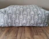 Large Floor Pillow, Pillow Pouf, Grey, Arrow, Customize (COVER)