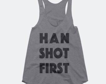Han Shot First Women's Triblend RacerbackTank - Star Wars
