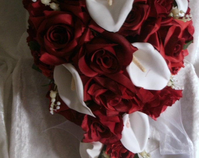 Red roses white callas cascade wedding bouquet groom boutonnirer and 12 pc free toss