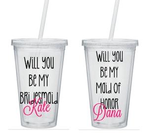 Will You Be My Bridesmaid  Gift, Bridesmaid Tumbler, Will You Be My Bridesmaid Tumbler, Bridesmaid Gifts, Maid Of Honor