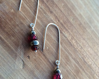 Garnet and Pyrite Drop Earrings, January Birthstone, Garnet Dangle Earrings